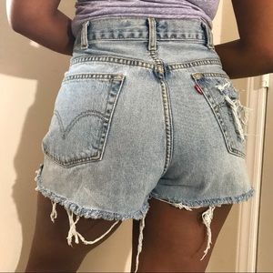 Levi's 505 Hand Distressed Summer Cut Offs 36